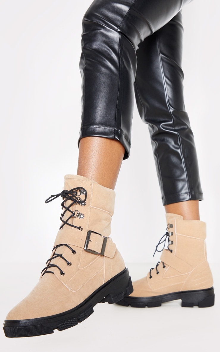 Sand Lace Up Buckle Strap Ankle Boot 1