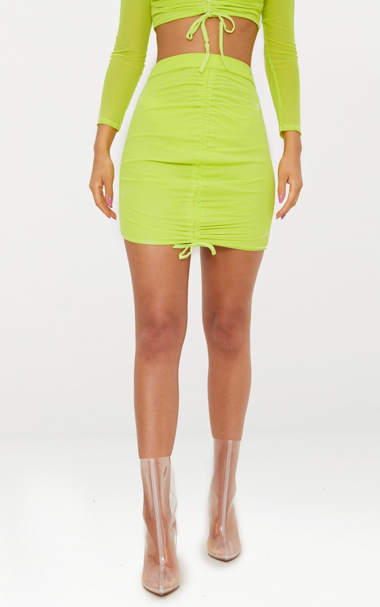 Lime Mesh Ruched Front Mini Skirt  2