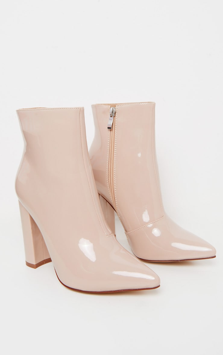 Nude High Block Heel Point Ankle Boot 3
