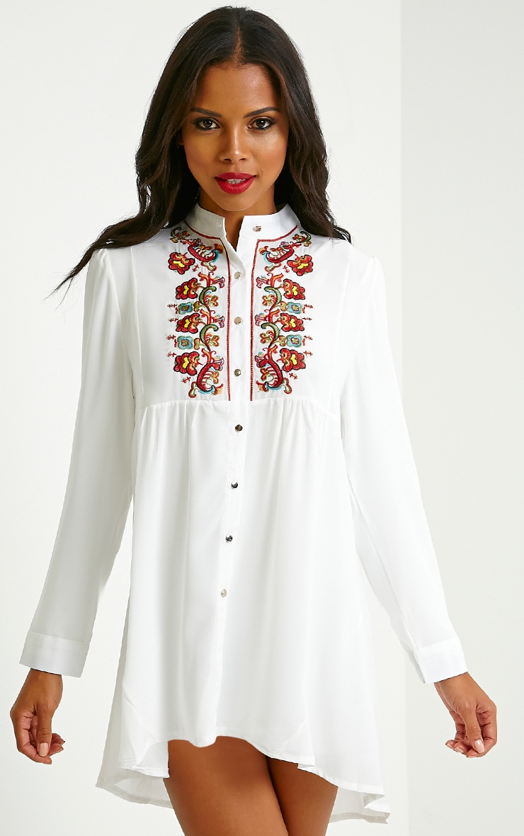 Melania White Embroidered Sheer Shirt Dress 1