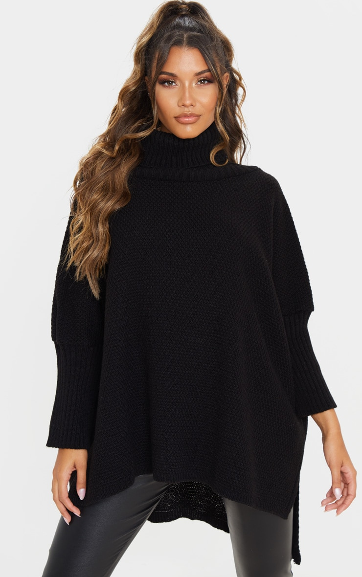 Black Oversized Slouchy Knitted Sweater 1