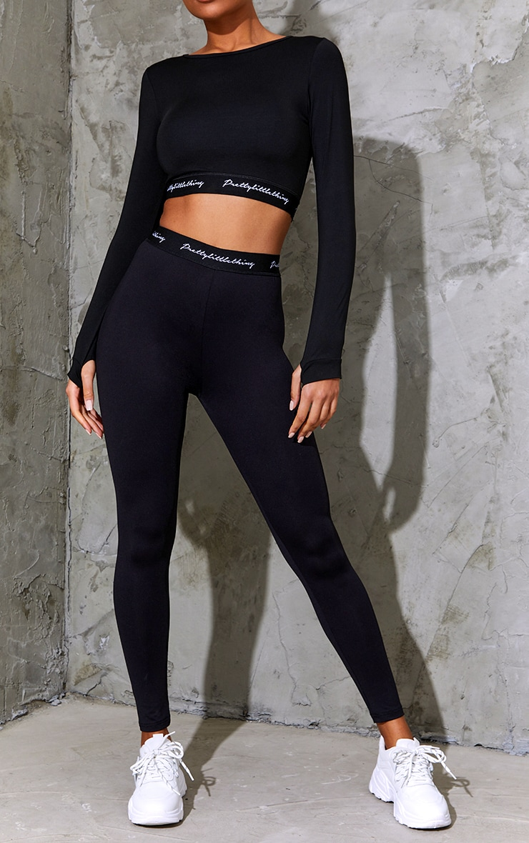 PRETTYLITTLETHING Black Elasticated Band Leggings 2