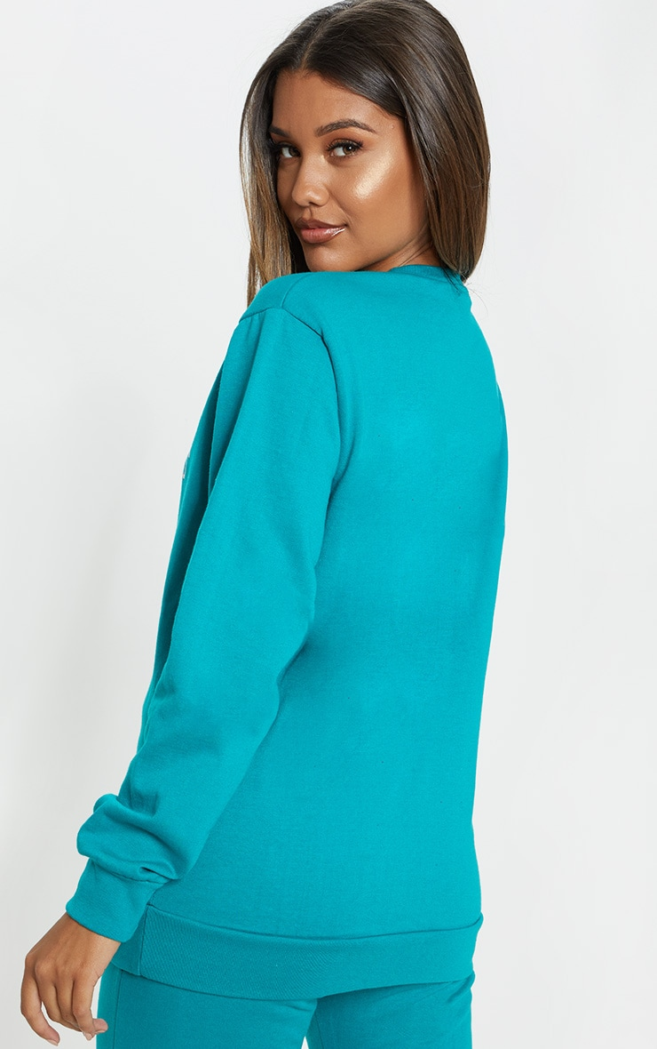 Teal Beverly Hills Slogan Sweater 2