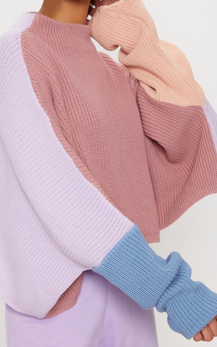 Pink Oversized Colour Block Sweater 5