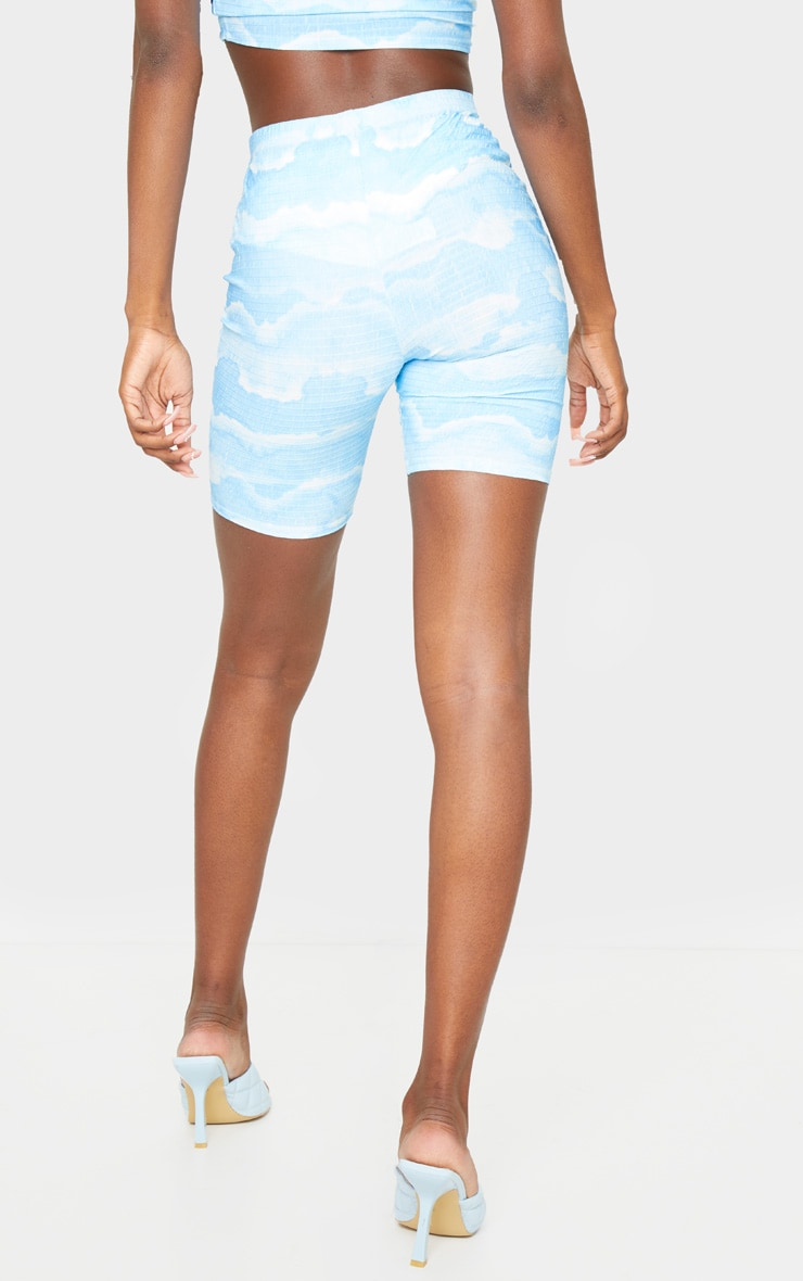 Tall Blue Tie Dye Cycle Crinkle Shorts 3