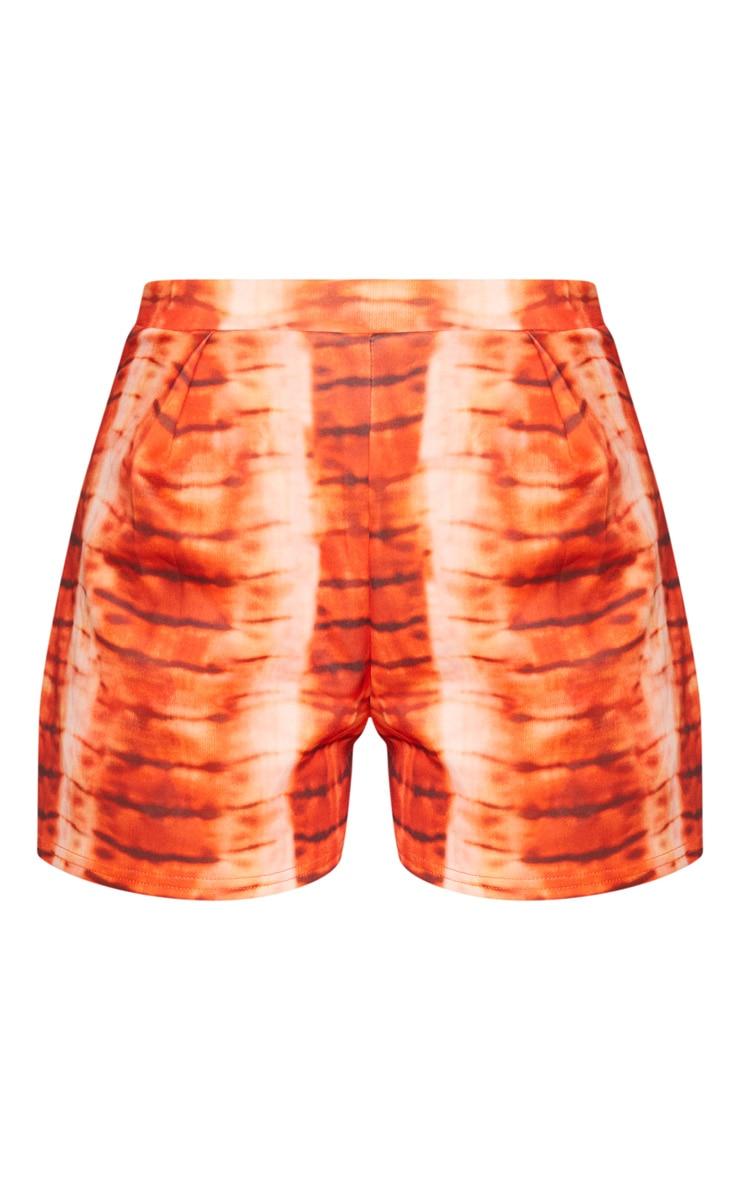 Short fluide orange à devant plissé et imprimé tie & dye 6