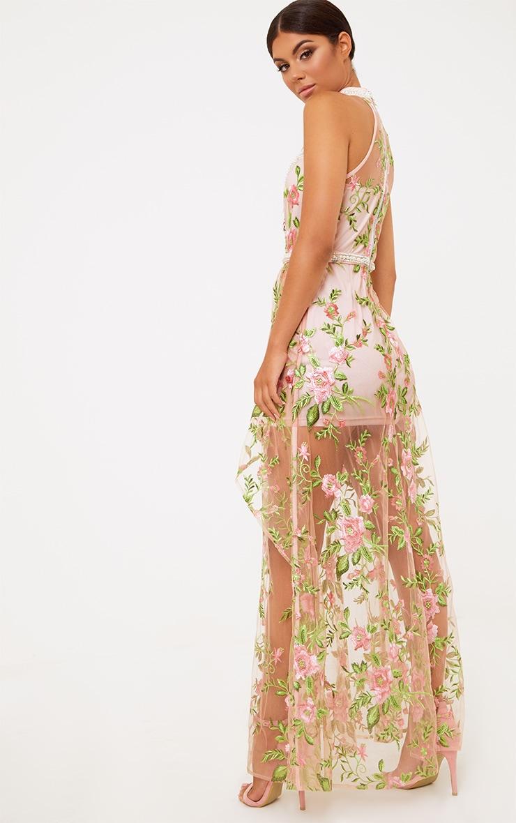 Premium Blush Embroidered Lace Maxi Dress 3