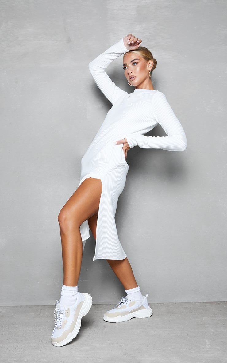 White Thick Rib High Neck Long Sleeve Midi Dress 3