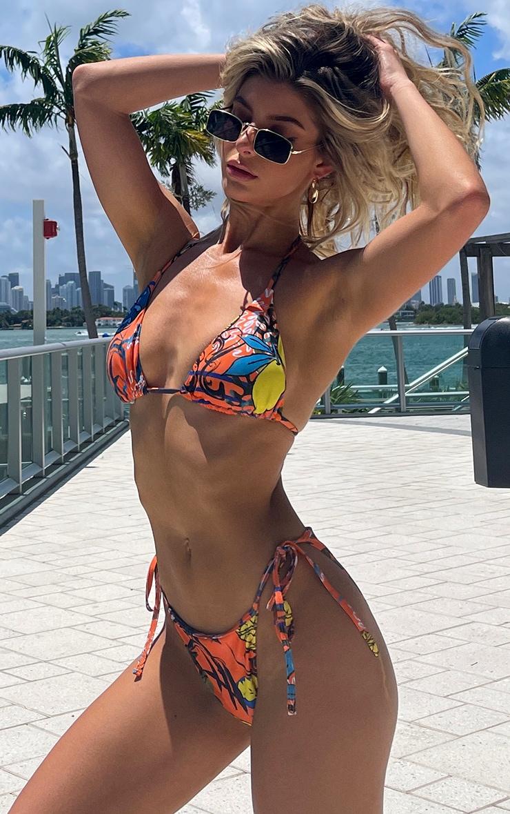 Orange Art Tie Side Bikini Bottoms 1