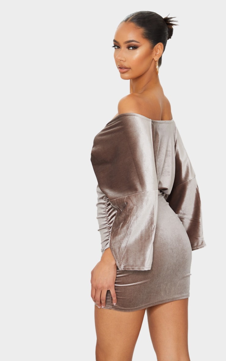 Champagne Velvet Off The Shoulder Wrap Ruched Bodycon Dress 2