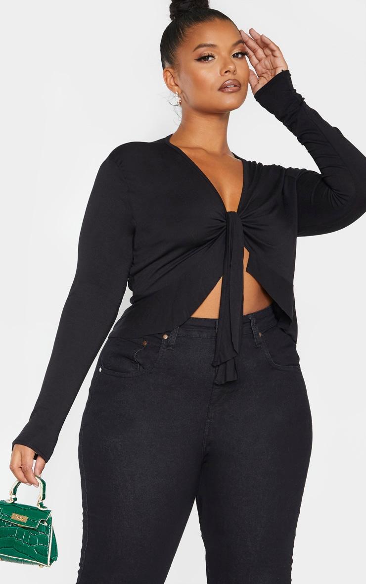 Plus Black Jersey Tie Detail Frill Hem Crop Top 1
