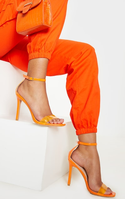 Orange Square Toe Clear Strap Sandal
