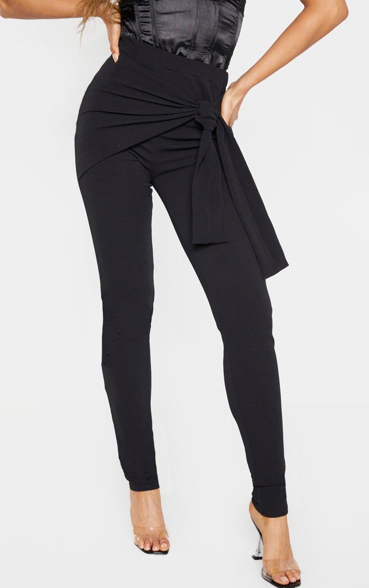 Tall Black Tie Detail Crepe Pants 2