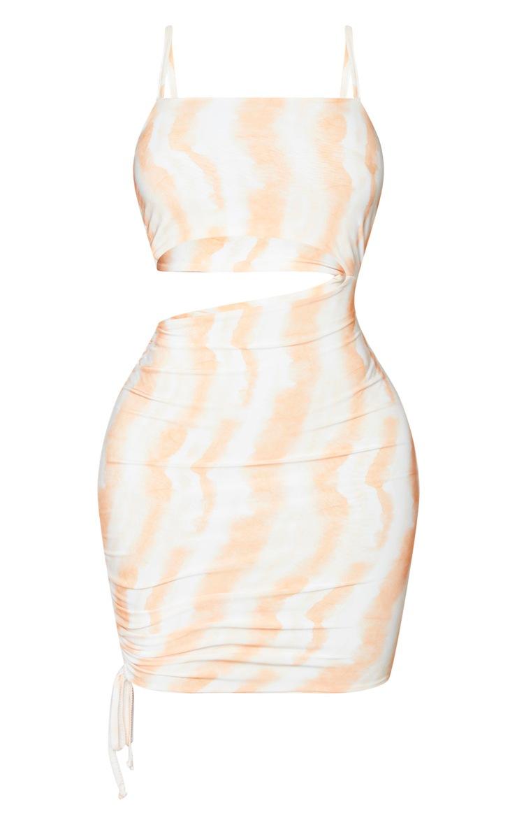 Shape Orange Tie Dye Slinky Cut Out Ruched Side Bodycon Dress 5