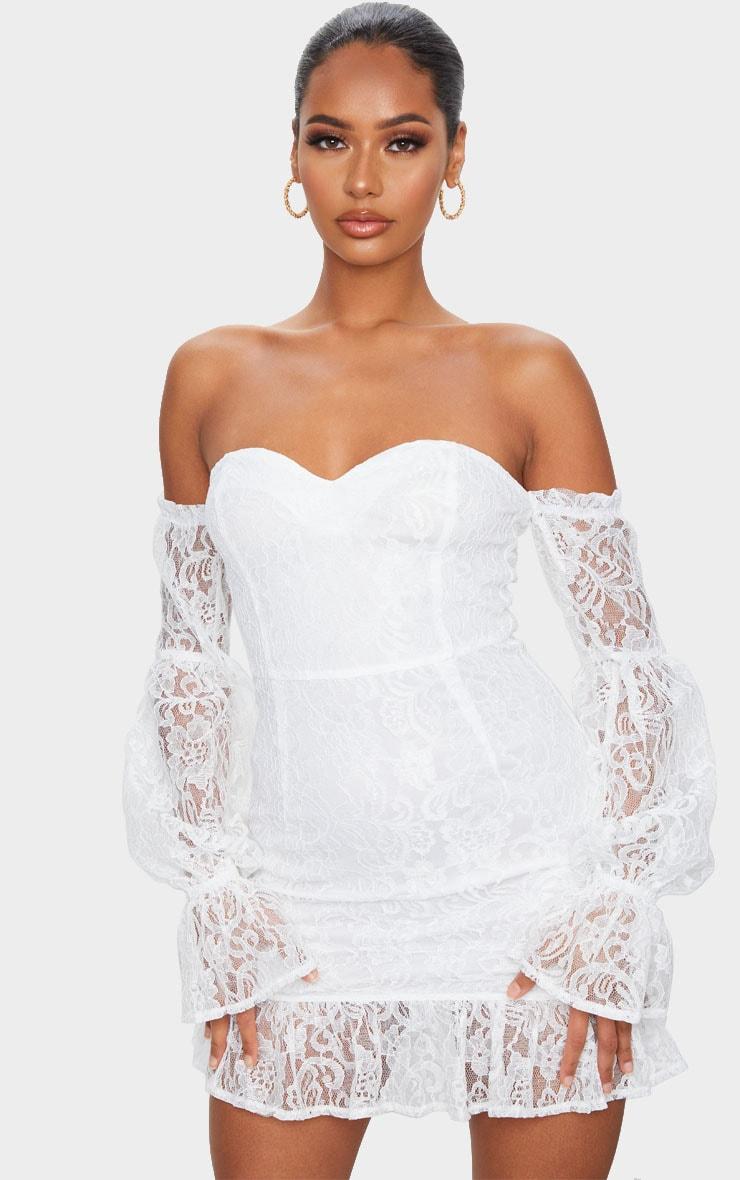 White Lace Bardot Puff Sleeve Bodycon Dress 1