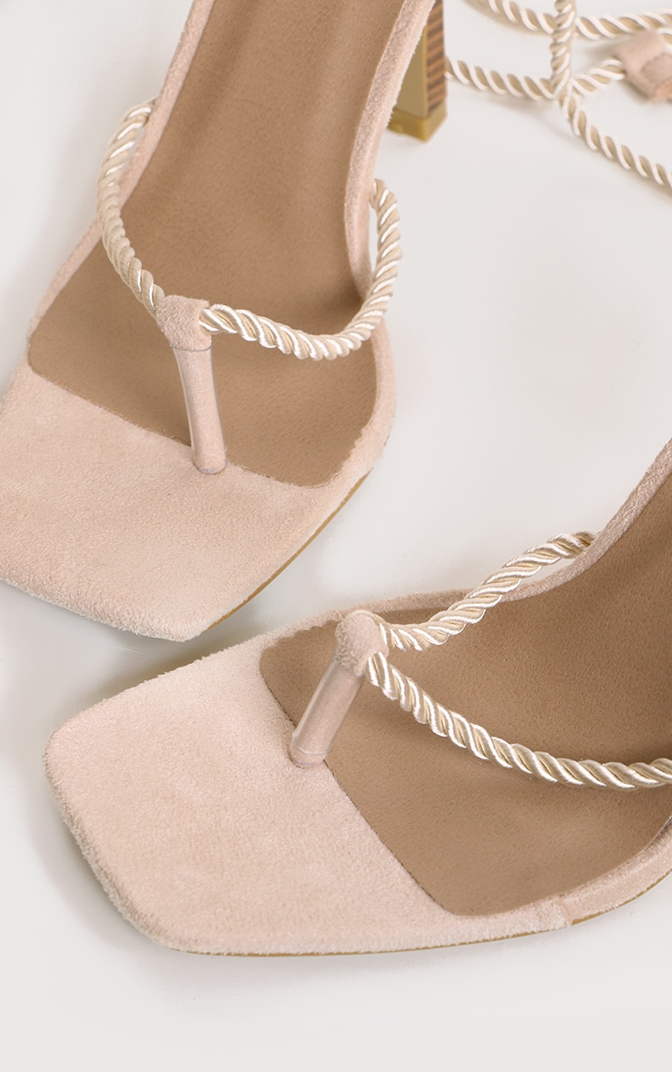 Cream Rope Lace Up Wood Heeled Sandals 3