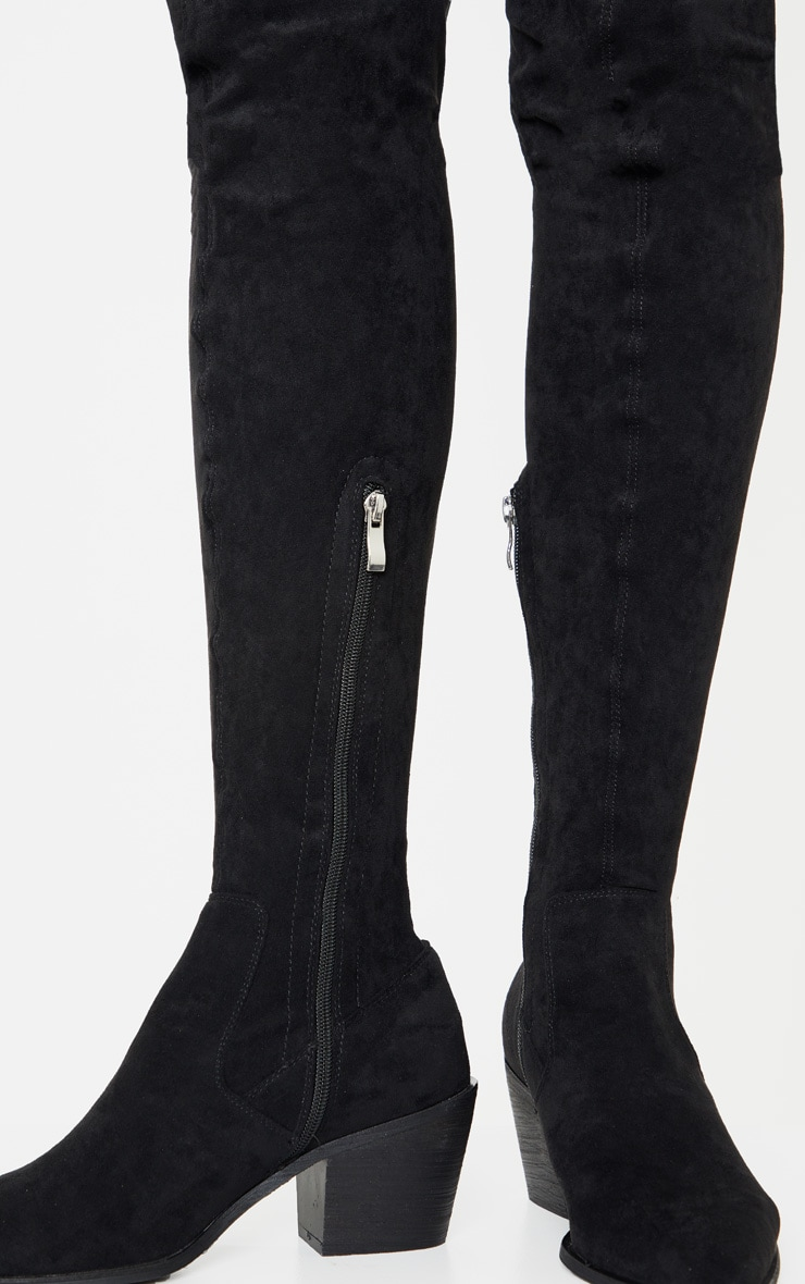 Black Thigh High Western Sock Boot 3