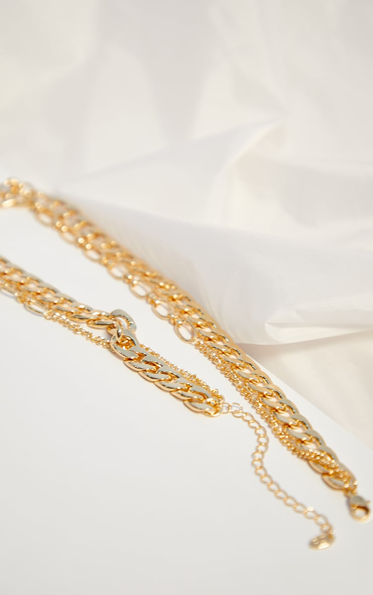 Gold Assorted Multi Chain Necklace 3