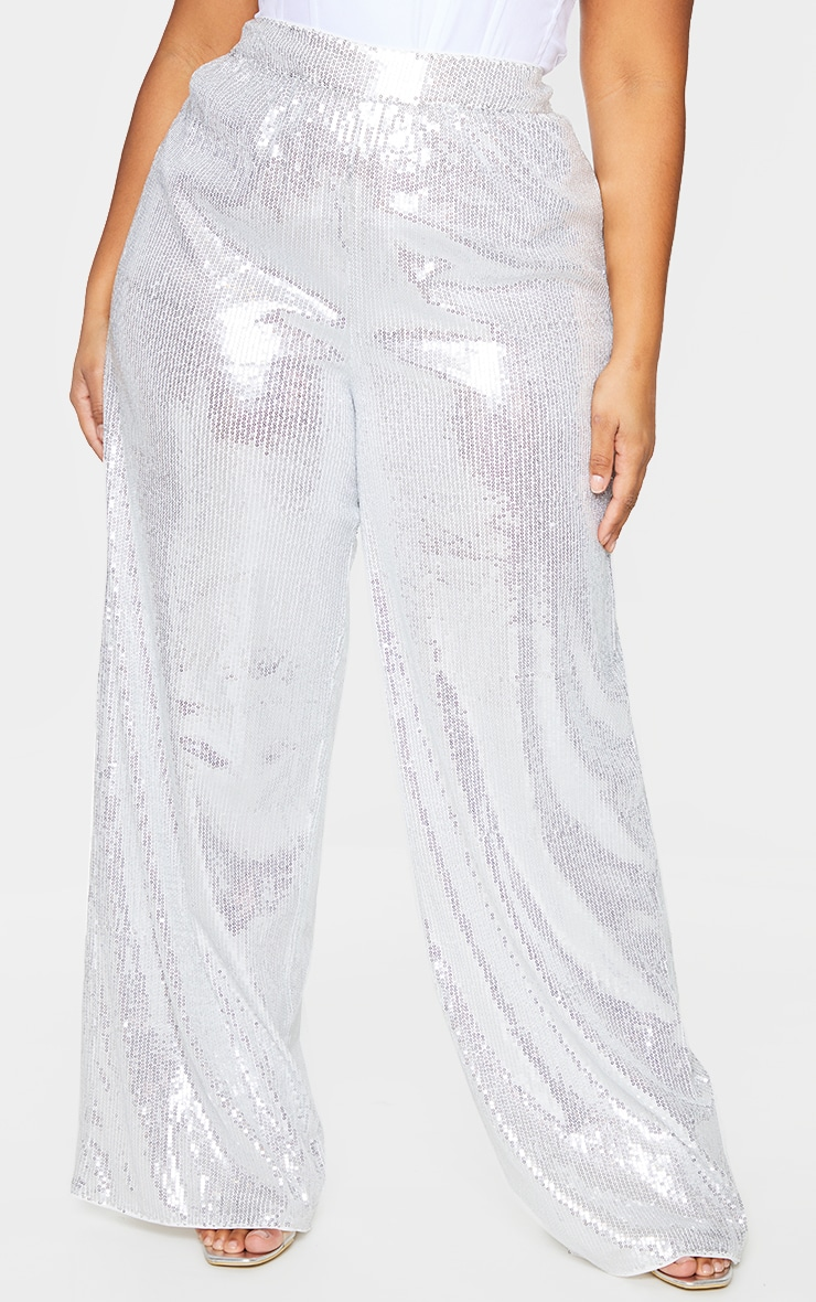 Plus Silver Sequin Wide Leg Trousers 2