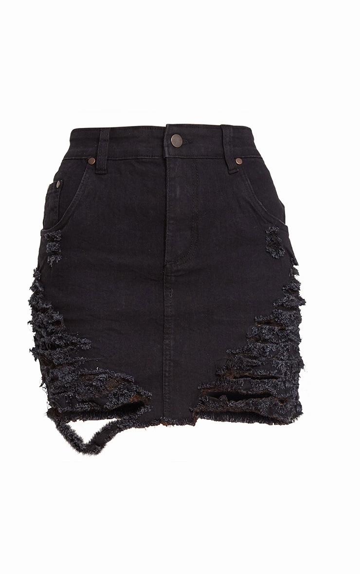 minijupe en jean noire effet d chir jupes prettylittlething fr. Black Bedroom Furniture Sets. Home Design Ideas