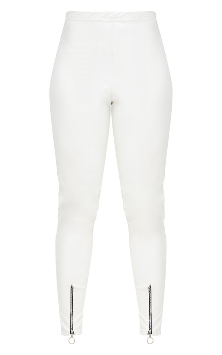White Faux Leather Zip Front Skinny Trousers 3