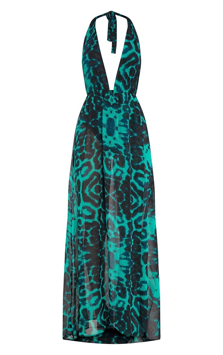 Alina robe maxi verte décolleté plongeant imprimé léopard 3