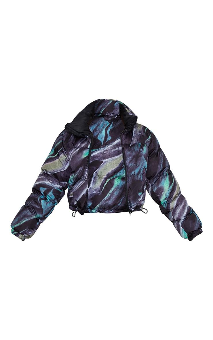 Green Abstract Print Reversible Zip Up Puffer Jacket 5