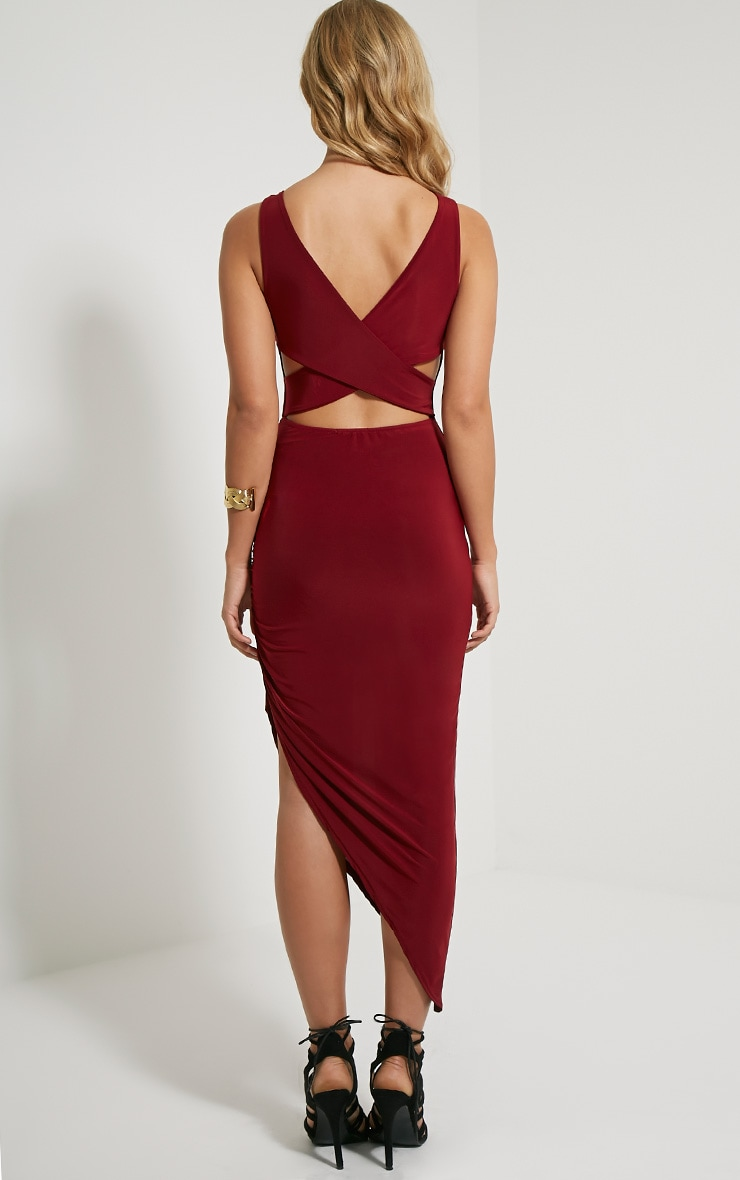 Carmen Burgundy Cross Back Ruched Side Midi Dress 2