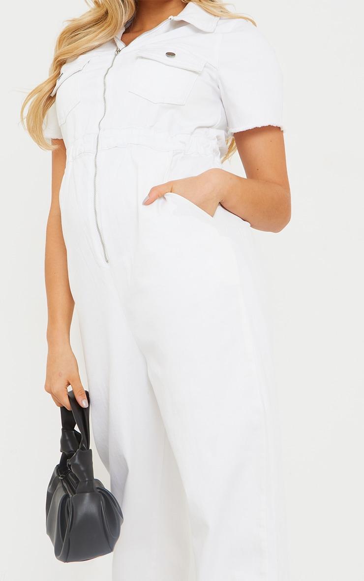 Maternity White Denim Contrast Seam Short Sleeve Jumpsuit  4
