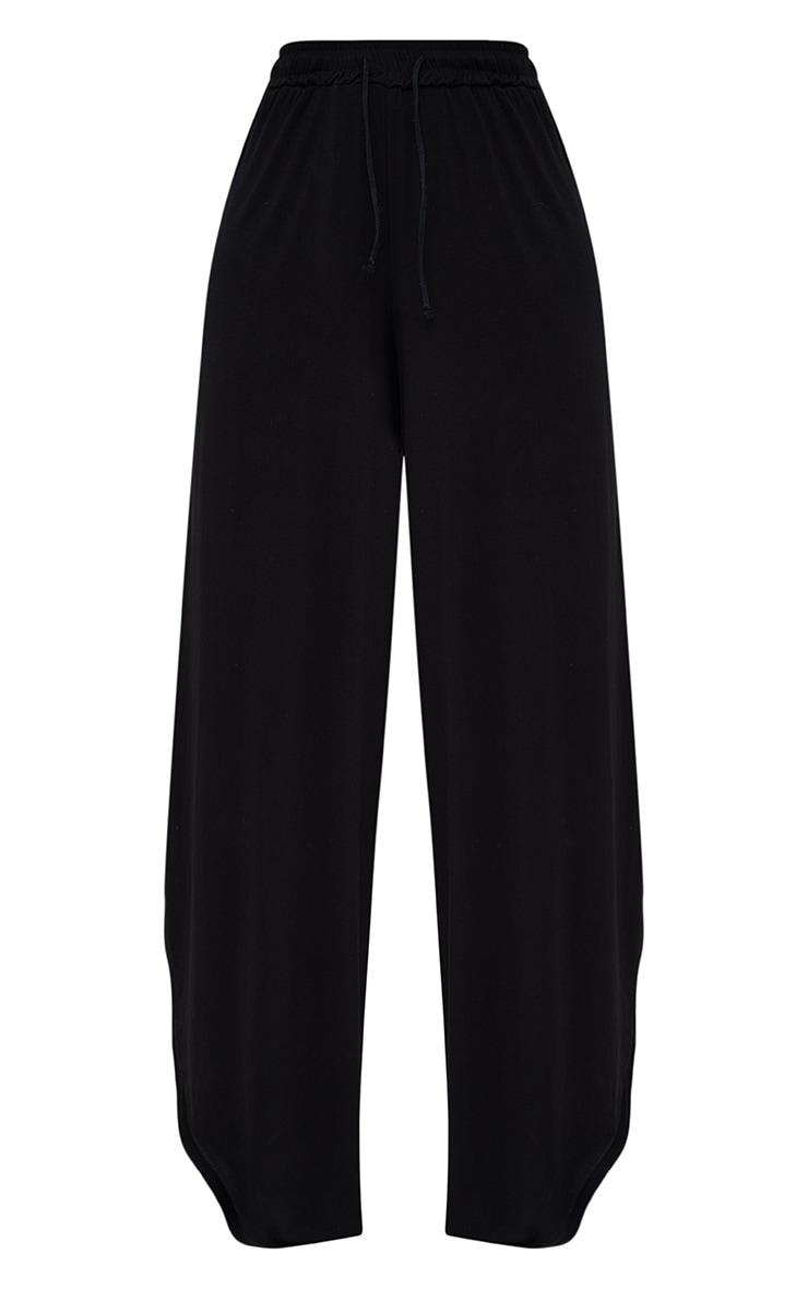 Black Jersey Side Split Wide Leg Joggers 3
