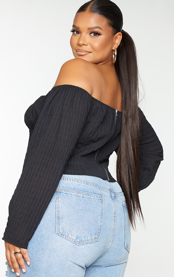 Plus Black Ruched Shirred Cropped Blouse 2