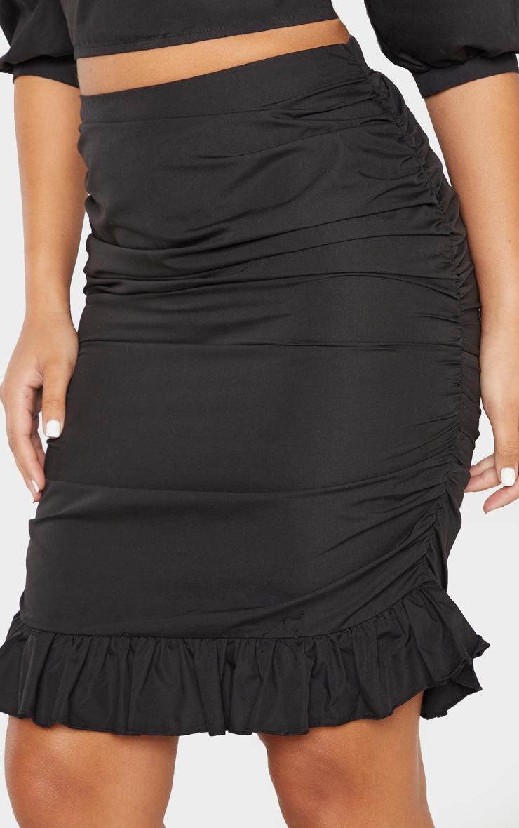 Black Ruched Detail Frill Hem Skirt 6