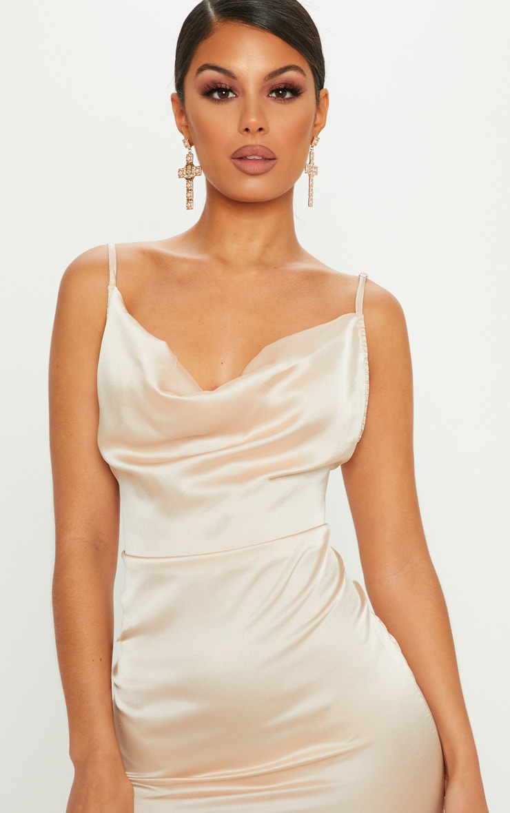 Champagne Strappy Satin Cowl Midi Dress 5
