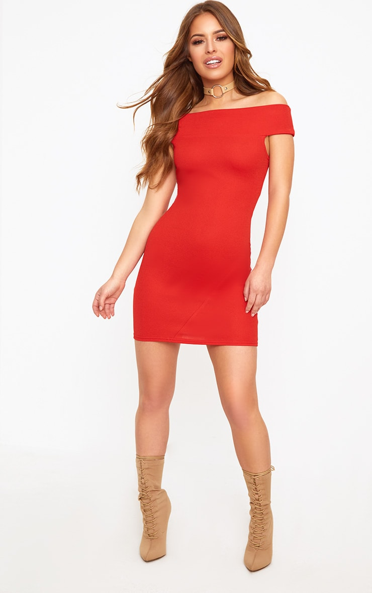 Petite Red Eyelet Lace Up Detail Dress 3