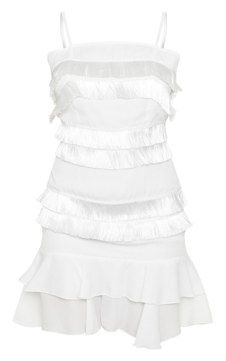 Petite White Tassel Square Neck Shift Dress 3
