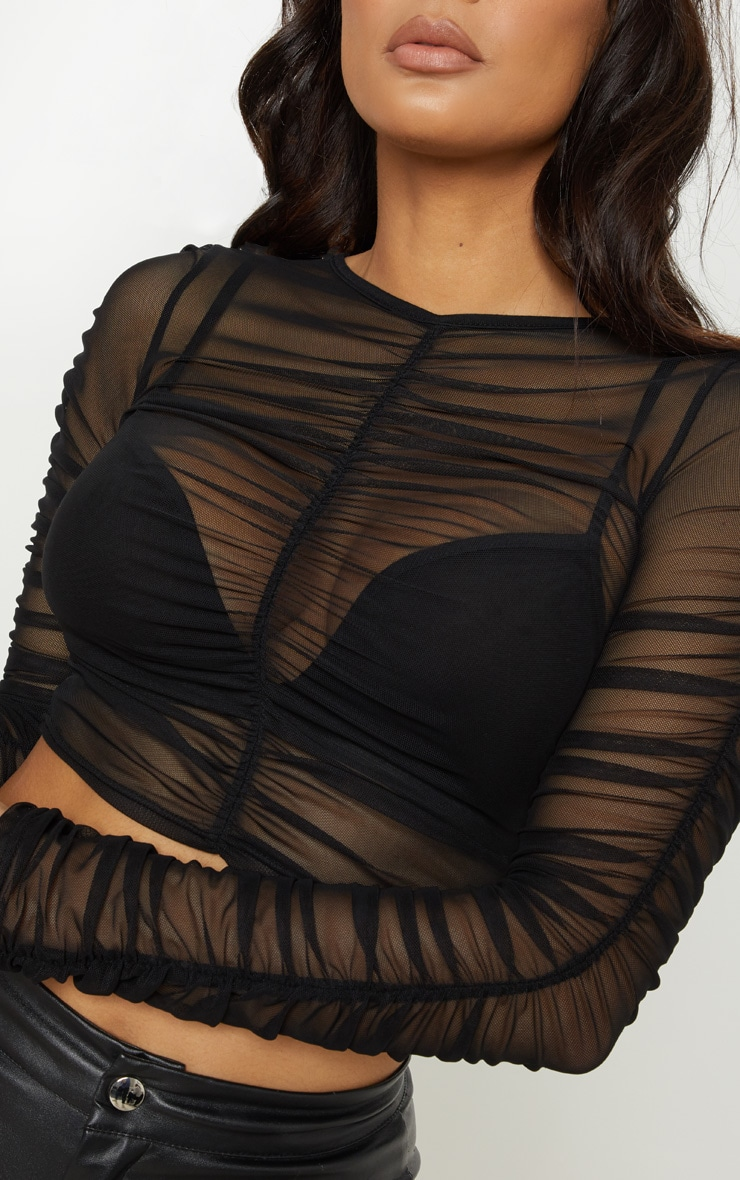 Black Mesh Ruched Long Sleeve Top 5