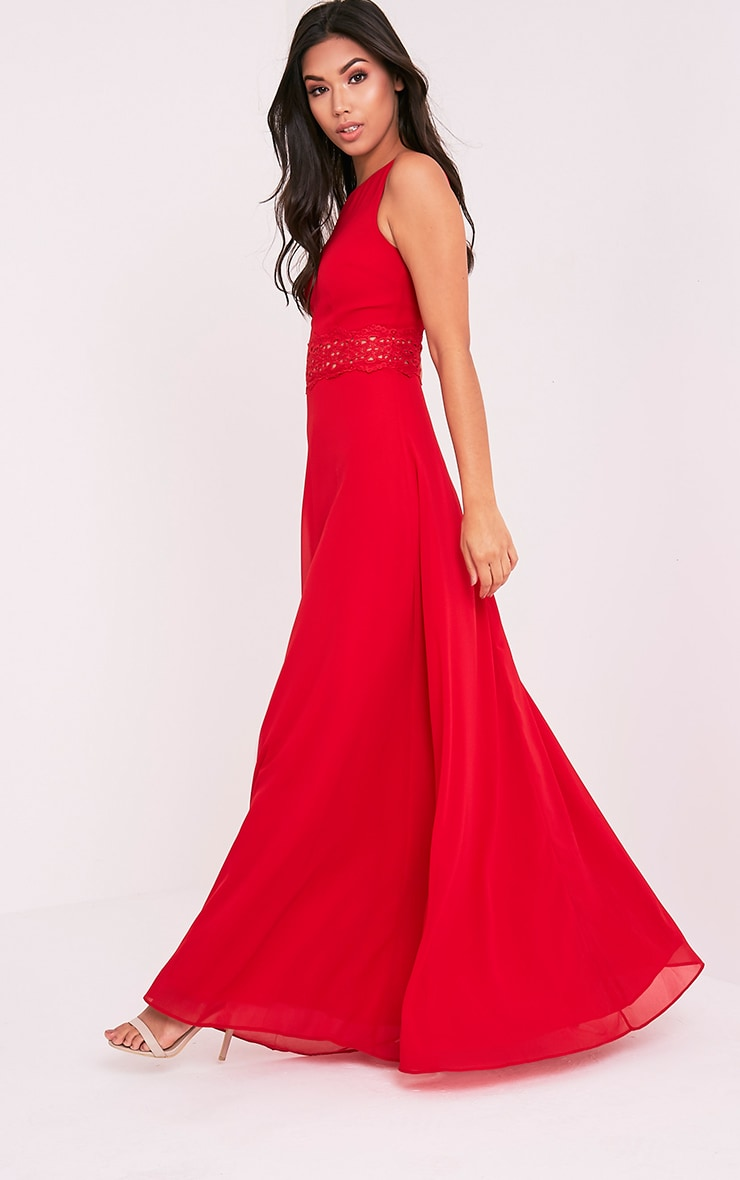 Caitlan Red Lace Insert Maxi Dress 3