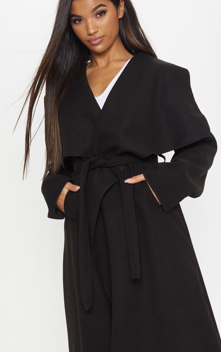 Black Maxi Length Oversized Waterfall Belted Coat 5