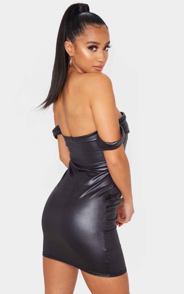 Petite Black Wet Look Mini Dress 2
