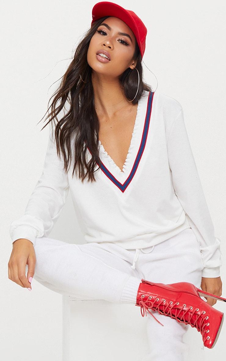White Sport Trim Plunge Sweater  1