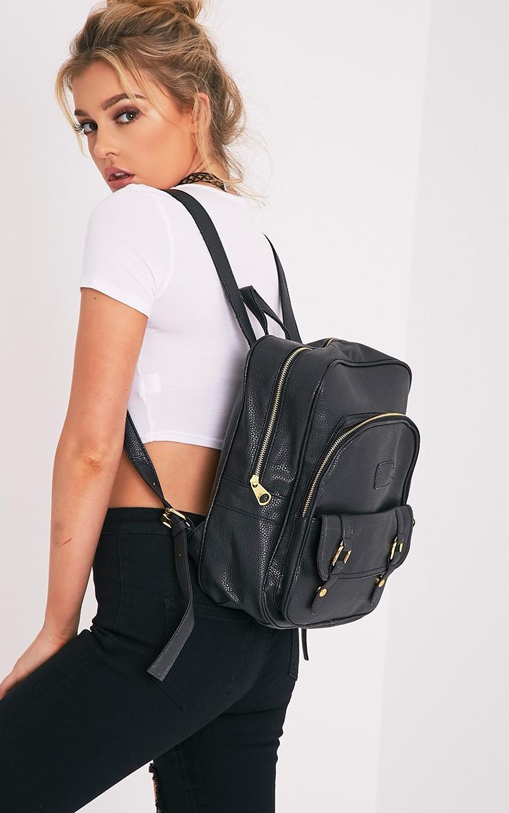 Yamkah Black PU Backpack 2