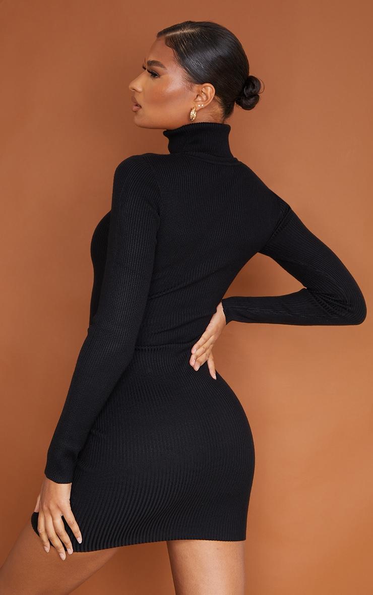 PRETTYLITTLETHING - Robe moulante en maille côtelée noire 3