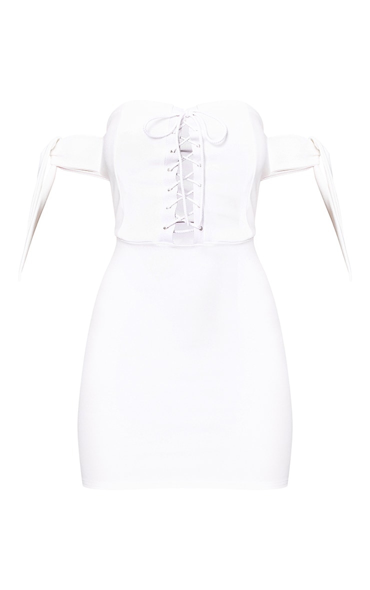 White Tie Sleeve Corset Bodycon Dress 3