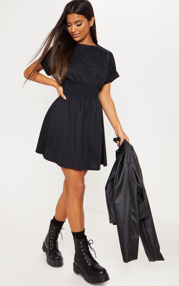 Black Puff Sleeve Shirring Detail Jumper Dress 4