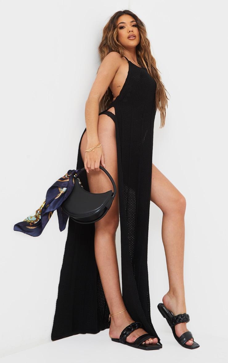 Black Crochet Halter Neck Side Split Maxi Dress 3