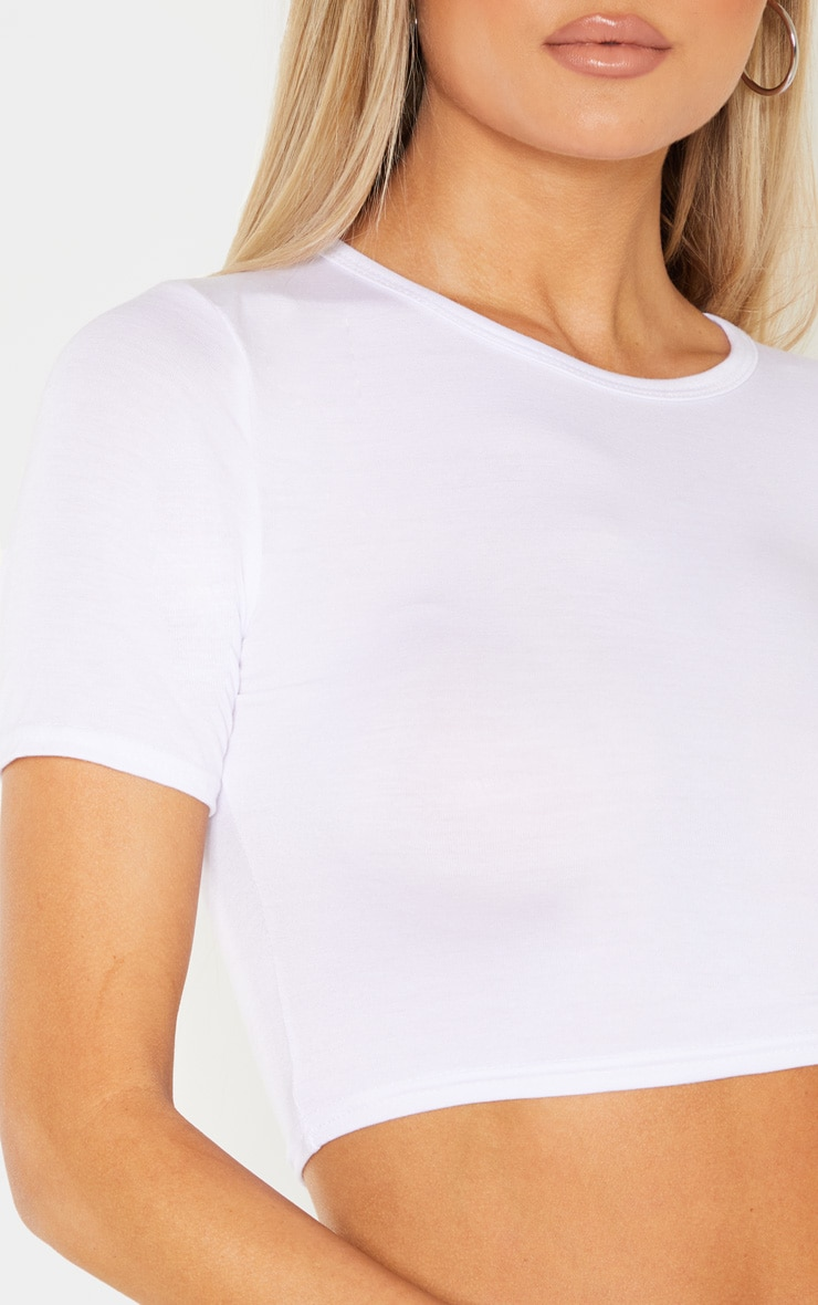 Tall White Short Sleeve Crop Top 5