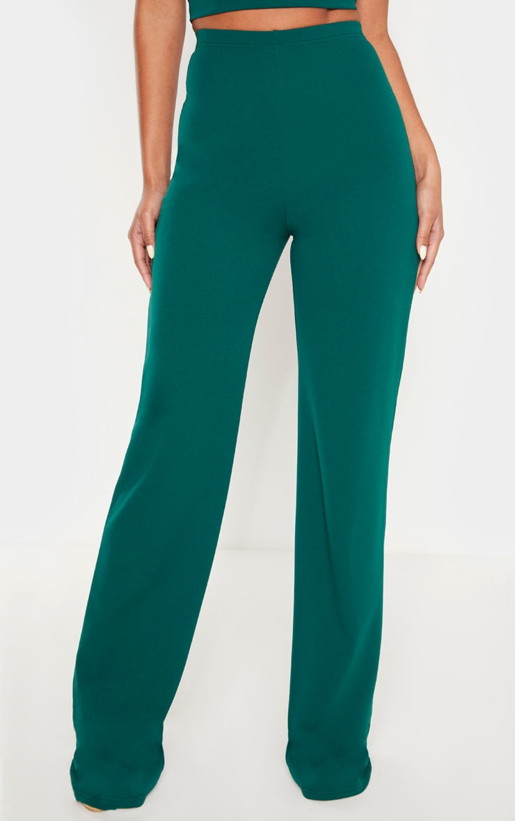 Emerald Crepe High Waisted Wide Leg Pants 2