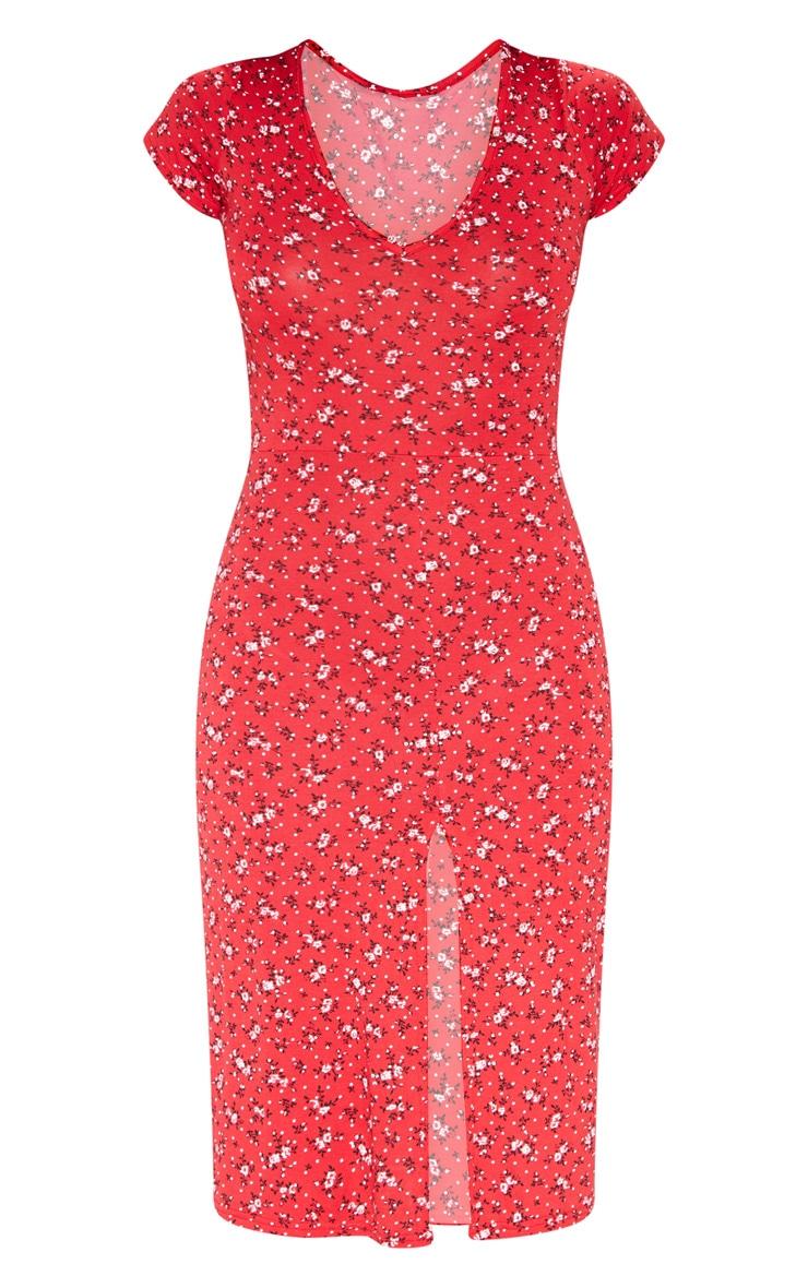 Red Ditsy Floral Jersey V Neck Split Midi Dress 3