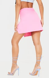 Candy Pink Woven Button Front Mini Suit Skirt 3
