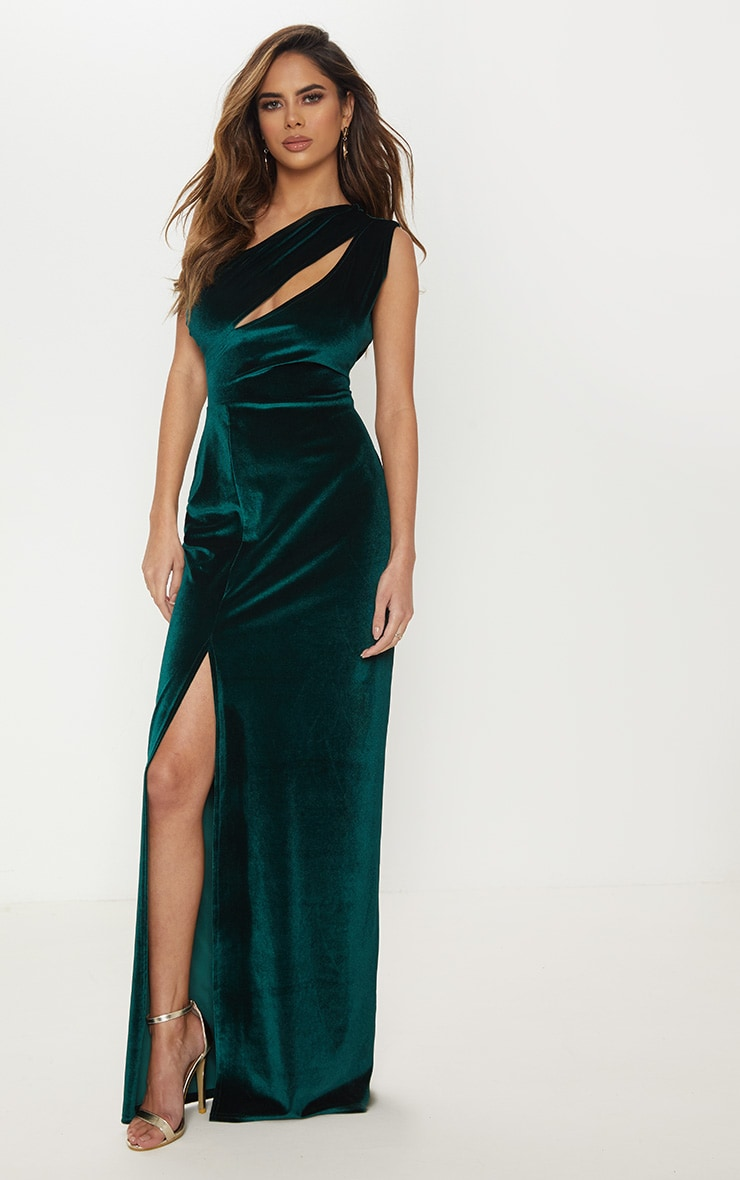 Emerald Green Velvet One Shoulder Split Leg Maxi Dress